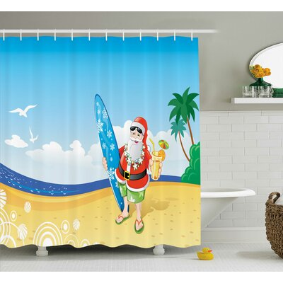 Christmas Santa on Beach Surf Shower Curtain Size: 69 W x 84 L