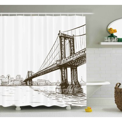 Benton Urban Cityscape of NYC Shower Curtain Size: 69 W x 70 L