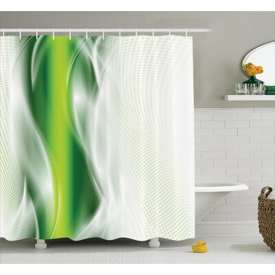 Aaron Cool Wavy Floral Shower Curtain Size: 69 W x 70 L