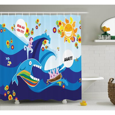 Makayla Whale Fish Rabbit Sun Shower Curtain Size: 69 W x 75 L