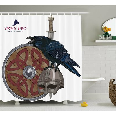 Viking Nordic War Army Design Shower Curtain Size: 69 W x 84 L