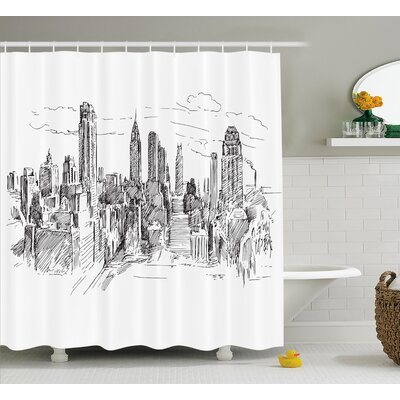 Blondelle Sketchy NYC Cityscape Shower Curtain Size: 69 W x 84 L