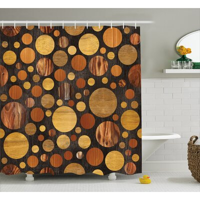 Wooden Brown Abstract Circles Shower Curtain Size: 69 W x 75 L