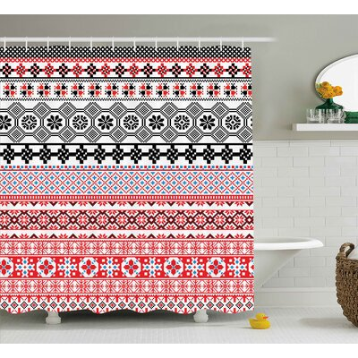 Aviana Ethnic Aztec Pattern Shower Curtain Size: 69 W x 84 L
