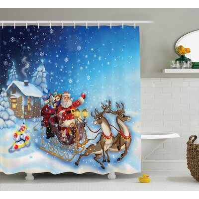 Christmas Santa in Sleigh Toys Shower Curtain Size: 69 W x 84 L