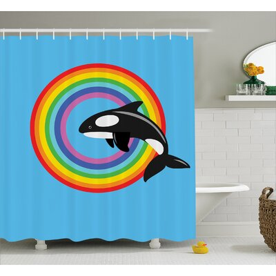 Ginnifer Rainbow Round and Whale Shower Curtain Size: 69 W x 70 L