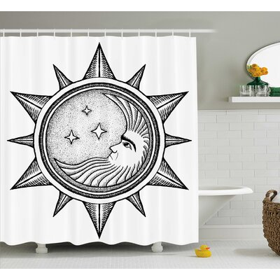 Carel Moon with Stars in Sun Shower Curtain Size: 69 W x 70 L