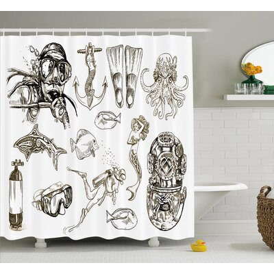Sunni Aquatic Themed Marine Shower Curtain Size: 69 W x 75 L
