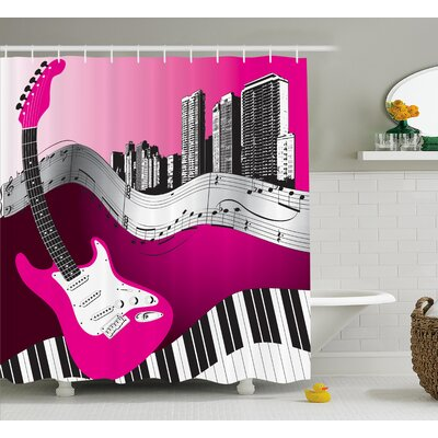 Guillame Urban Bass Guitar Rock Shower Curtain Size: 69 W x 70 L