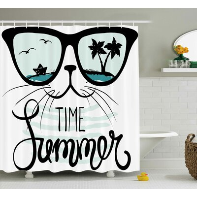 Aluin Hipster Cat with Palms Shower Curtain Size: 69 W x 75 L