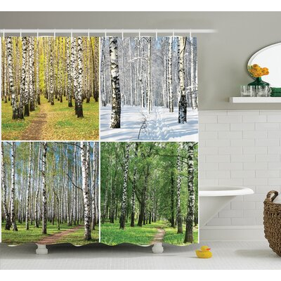Forest Fall Winter in Home Shower Curtain Size: 69 W x 70 L