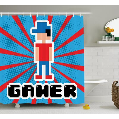 Video Games Red Blue Stripes Shower Curtain Size: 69 W x 84 L