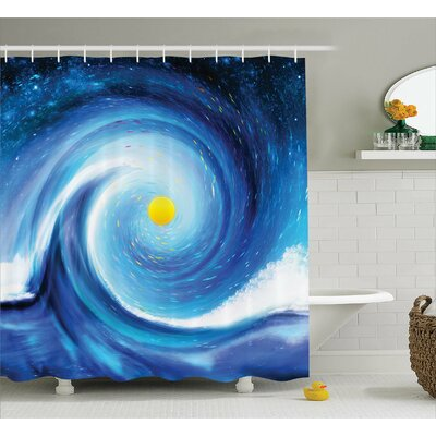 Adelia Surfer Wavy Sun Decor Shower Curtain Size: 69 W x 70 L