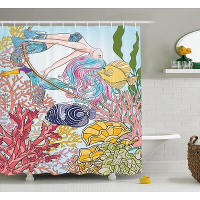 Mackenzie Sketchy Sea Coral Reefs Shower Curtain Size: 69 W x 70 L