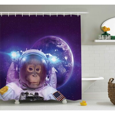 Outer Space Astrounaut Monkey Shower Curtain Size: 69 W x 84 L