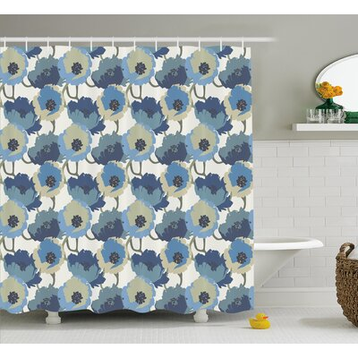 Baranowski Ombre Romantic Flowers Shower Curtain Size: 69