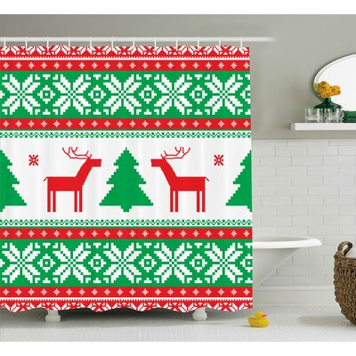 Christmas Holiday Season Deer Shower Curtain Size: 69 W x 70 L