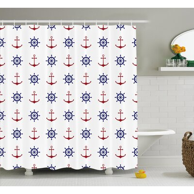 Suzie Anchors and Ship Wheels Shower Curtain Size: 69 W x 84 L