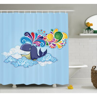 Lottie Whale on Cloud Rainbow Shower Curtain Size: 69 W x 70 L