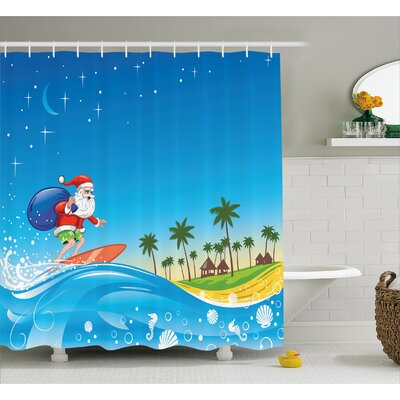 Christmas Surfing Santa Beach Shower Curtain Size: 69 W x 70 L