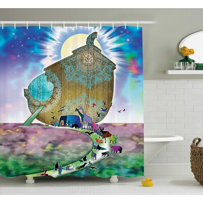 Mystic Noah Ark Couple Animals Shower Curtain Size: 69 W x 84 L