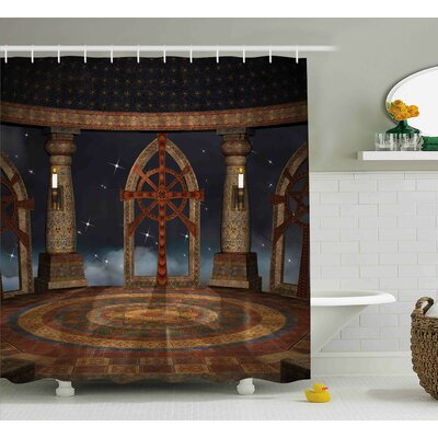 Gothic Fantasy Temple in Sky Shower Curtain Size: 69 W x 84 L