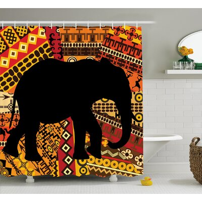 Ashanti Elephant Silhouette Shower Curtain Size: 69 W x 84 L