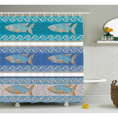 Anton Marine Style Pattern Shower Curtain Size: 69 W x 75 L