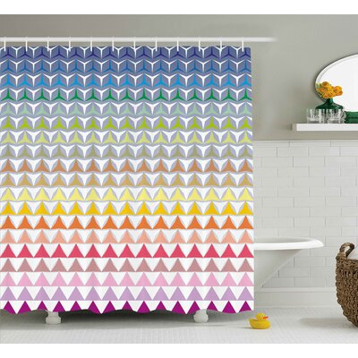 Hope Trippy Geometric Forms Print Shower Curtain Size: 69 W x 75 L