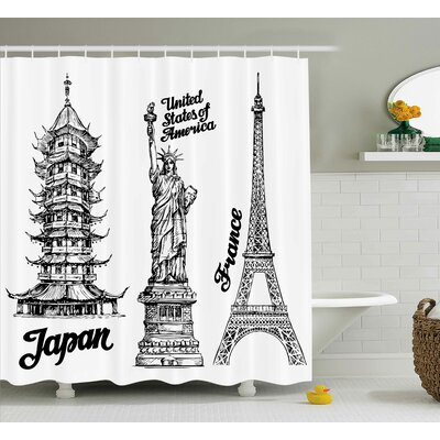Tourist Japan Paris Building Shower Curtain Size: 69 W x 84 L