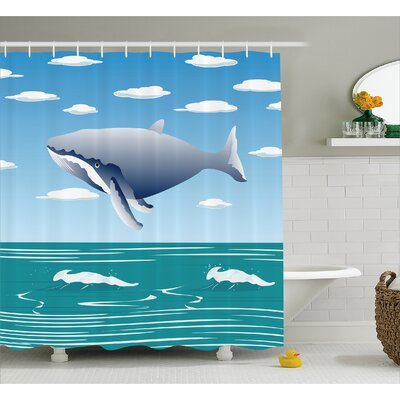 Lottie Cartoon Ocean Whale Shower Curtain Size: 69 W x 70 L