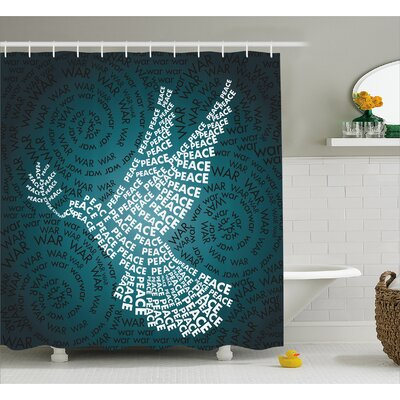 Lyndsay Dove Symbol with Peace Shower Curtain Size: 69 W x 75 L