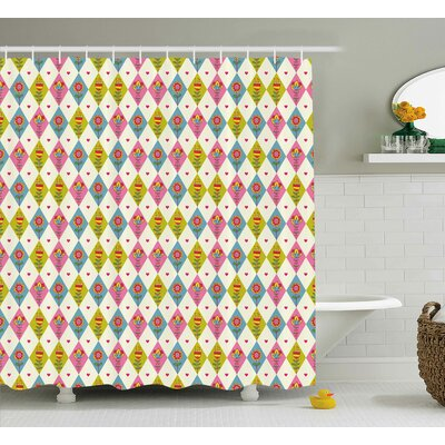 Inverness Geometric Tulips Pattern Shower Curtain Size: 69 W x 75 L