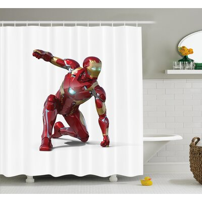 Superhero Robot Hero Costume Shower Curtain Size: 69 W x 75 L