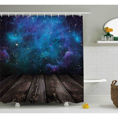 Space from Home View Shower Curtain Size: 69 W x 70 L