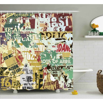 Guadalupe Old Torn Posters Collage Shower Curtain Size: 69 W x 70 L
