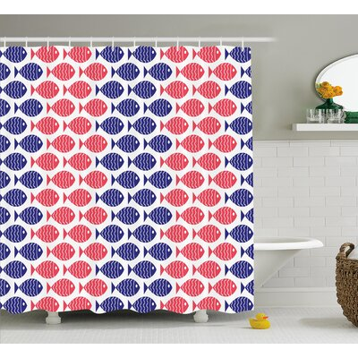 Stephnie Nautical Stephnie Theme Design Shower Curtain Size: 69 W x 75 L