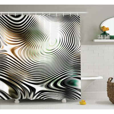 Abia Circle Zebra Stripes Shower Curtain Size: 69 W x 75 L