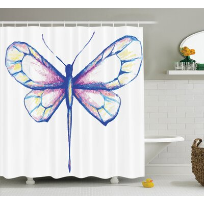 Minni Butterfly Design Art Shower Curtain Size: 69 W x 75 L