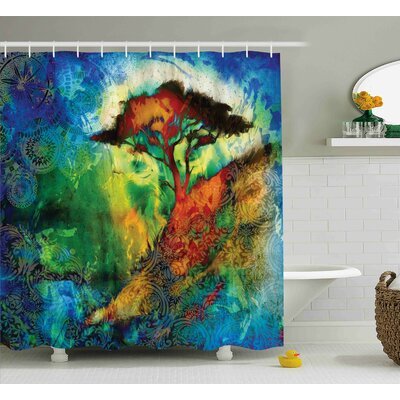 Aqueduct Eastern Grunge Trees Shower Curtain Size: 69 W x 84 L