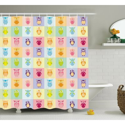 Marcelo Colorful Cute Owl Home Shower Curtain Size: 69 W x 84 L