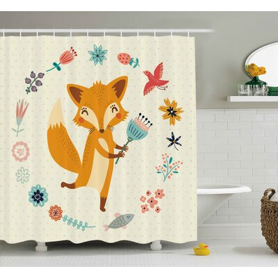 Jefferson Cute Animal with Floral Shower Curtain Size: 69 W x 70 L