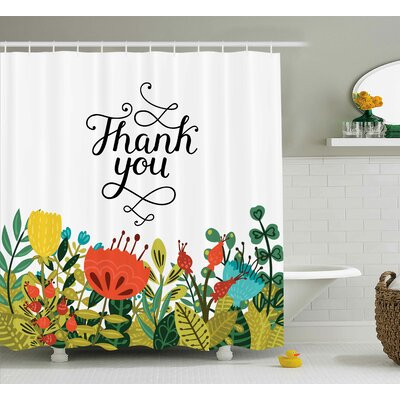 Banister Hand Writing Thank You Shower Curtain Size: 69 W x 70 L
