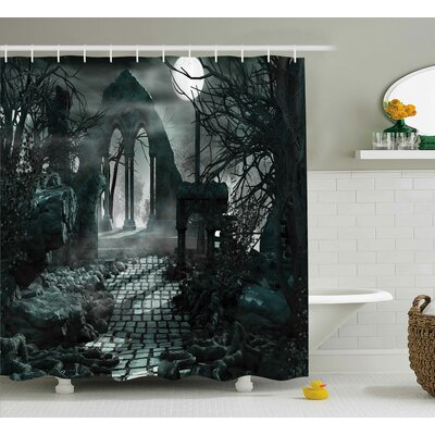 Gothic Moon View in Scary Dark Shower Curtain Size: 69 W x 75 L