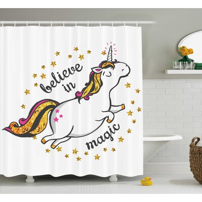 Sheldon Believe in Magic Quote Shower Curtain Size: 69 W x 84 L