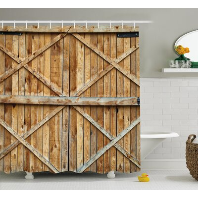 Rustic Wooden Timber Door Plank Shower Curtain Size: 69 W x 84 L