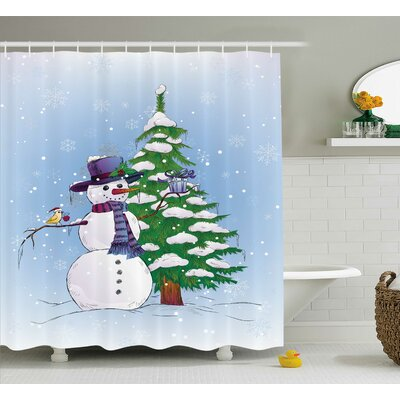 Christmas Snowman and Tree Shower Curtain Size: 69 W x 75 L