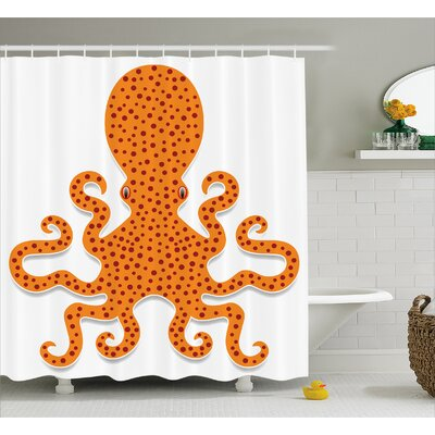 Sealife Octopus Marine Mosters Shower Curtain Size: 69 W x 84 L