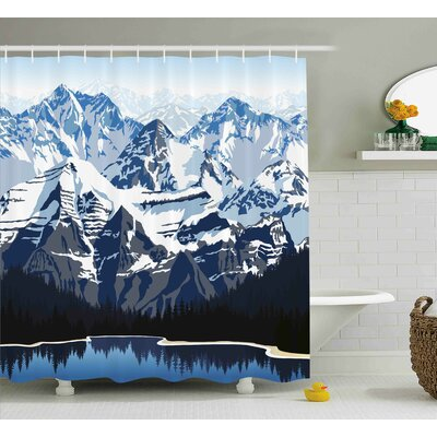 Banjo Mountain with Snow View Shower Curtain Size: 69 W x 75 L
