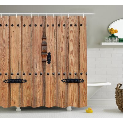 Wooden Door with Iron Detail Shower Curtain Size: 69 W x 70 L